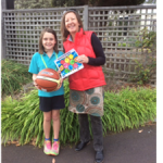 closing the gap - winner of the colouring comp receiving a basketball